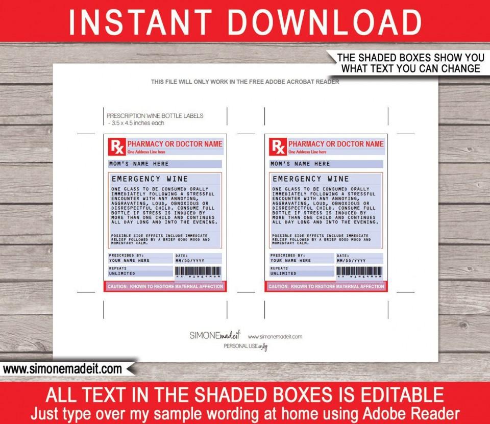 002 Singular Free Fake Prescription Label Template High Def 960