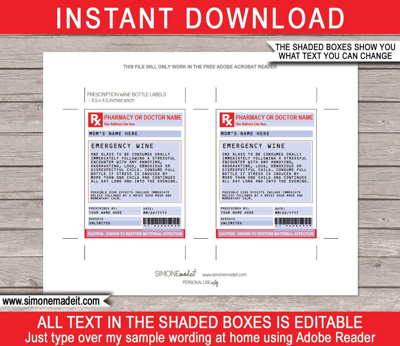 002 Singular Free Fake Prescription Label Template High Def Full