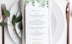 002 Singular Free Online Wedding Menu Template High Resolution  Templates