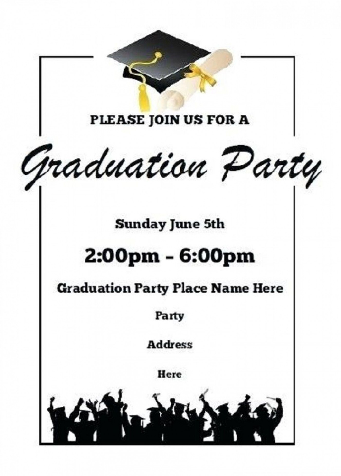 002 Singular Free Printable Graduation Invitation Template High Resolution  Party For Word1400