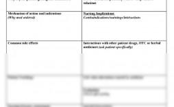 002 Singular Nursing Drug Card Template High Def  School Download Printable