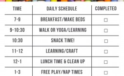 002 Singular Preschool Daily Schedule Template Highest Clarity  Planner Routine Plan
