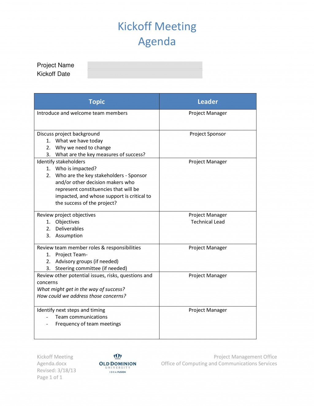 002 Singular Project Kickoff Meeting Template Photo  Management Agenda Construction Doc EmailLarge