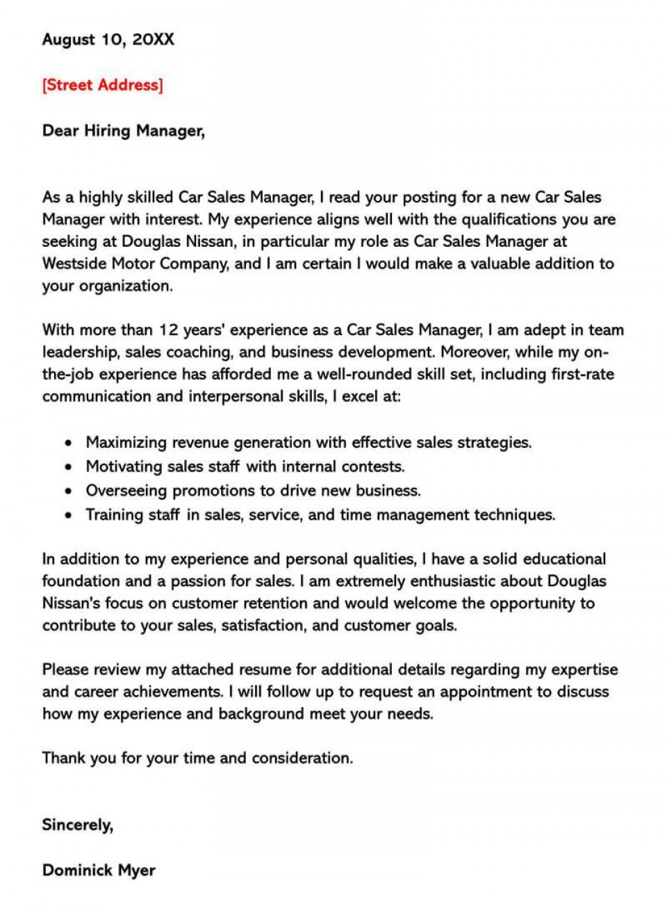 002 Singular Sale Cover Letter Template Picture  Account Manager Word Rep960
