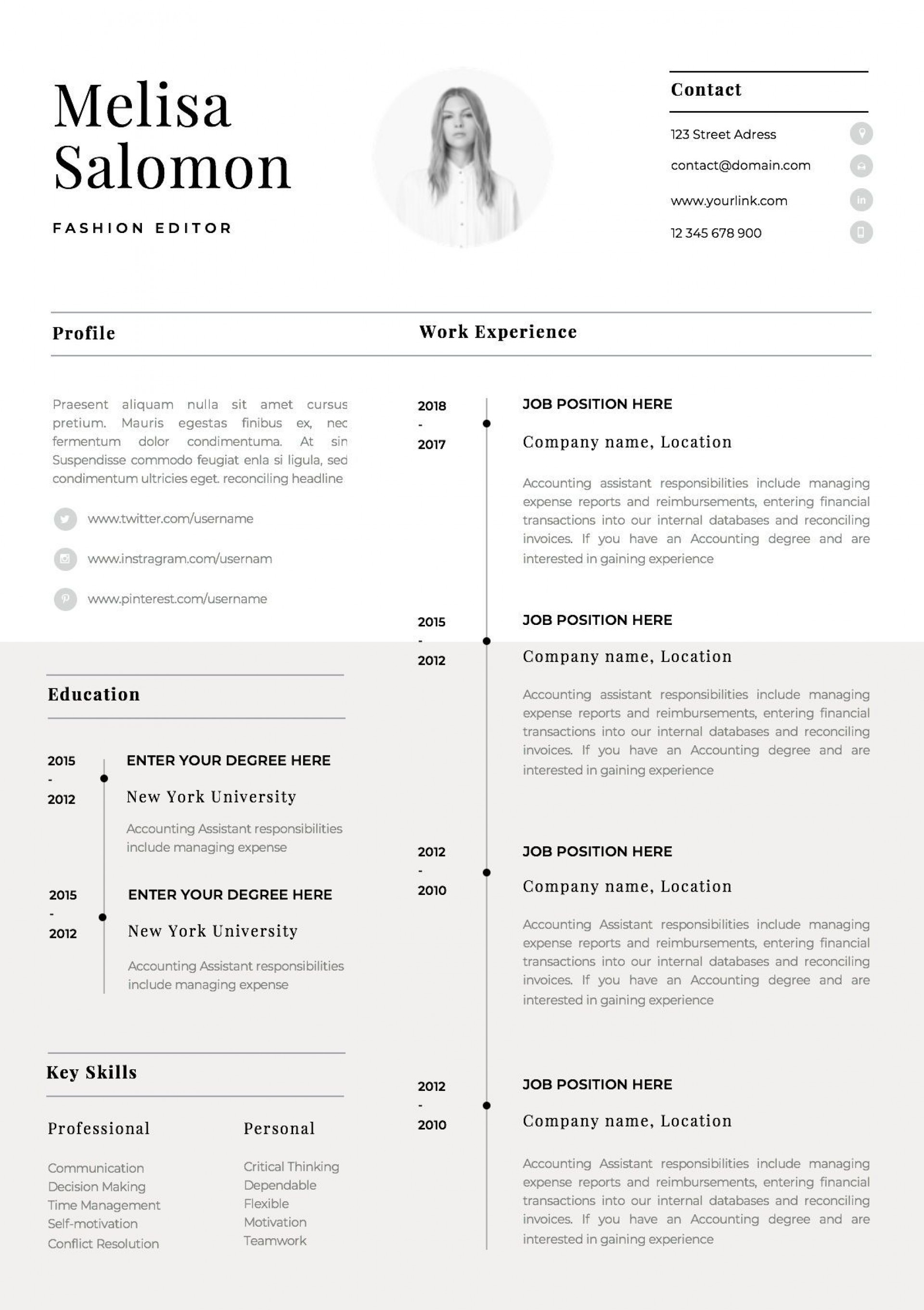 002 Singular Single Page Resume Template Sample  Cascade One Free Download Word For Fresher1920
