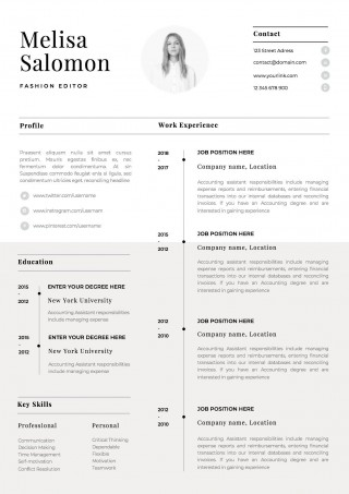 002 Singular Single Page Resume Template Sample  Cascade One Free Download Word For Fresher320