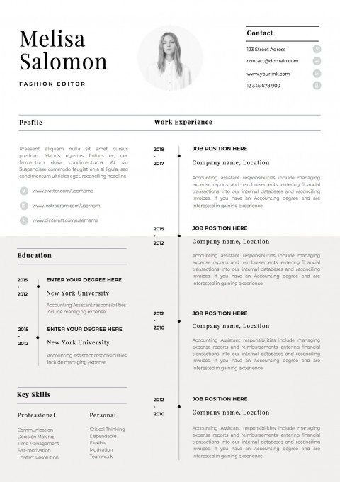 002 Singular Single Page Resume Template Sample  Cascade One Free Download Word For Fresher480