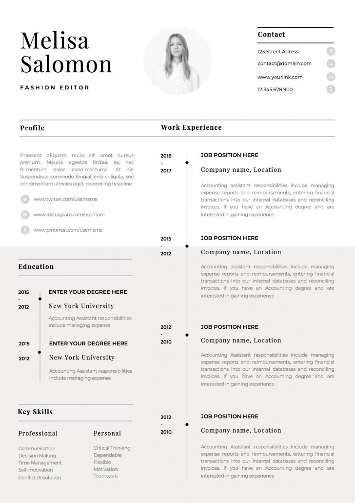 002 Singular Single Page Resume Template Sample  Cascade One Free Download Word For Fresher728