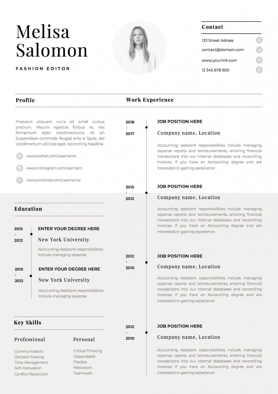 002 Singular Single Page Resume Template Sample  Cascade One Free Download Word For Fresher960