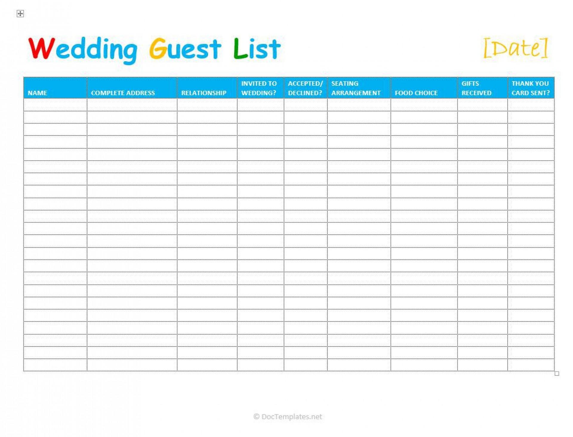 002 Singular Wedding Guest List Template Excel Download Concept 1920