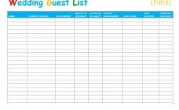 002 Singular Wedding Guest List Template Excel Download Concept