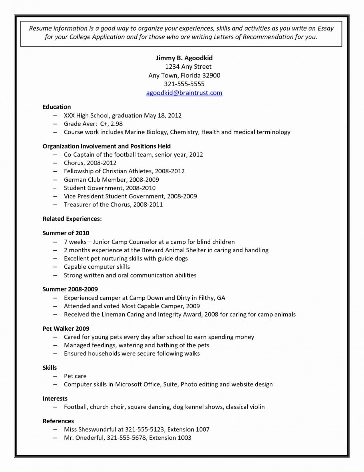 002 Staggering College Admission Resume Template High Resolution  Microsoft Word Application Download728