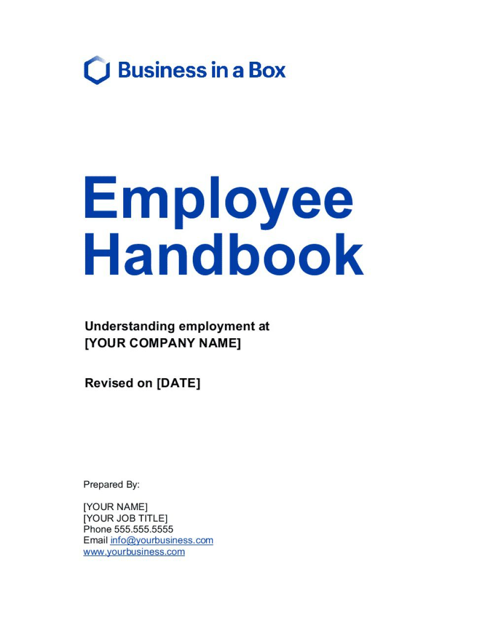 002 Staggering Free Employment Handbook Template High Resolution Full