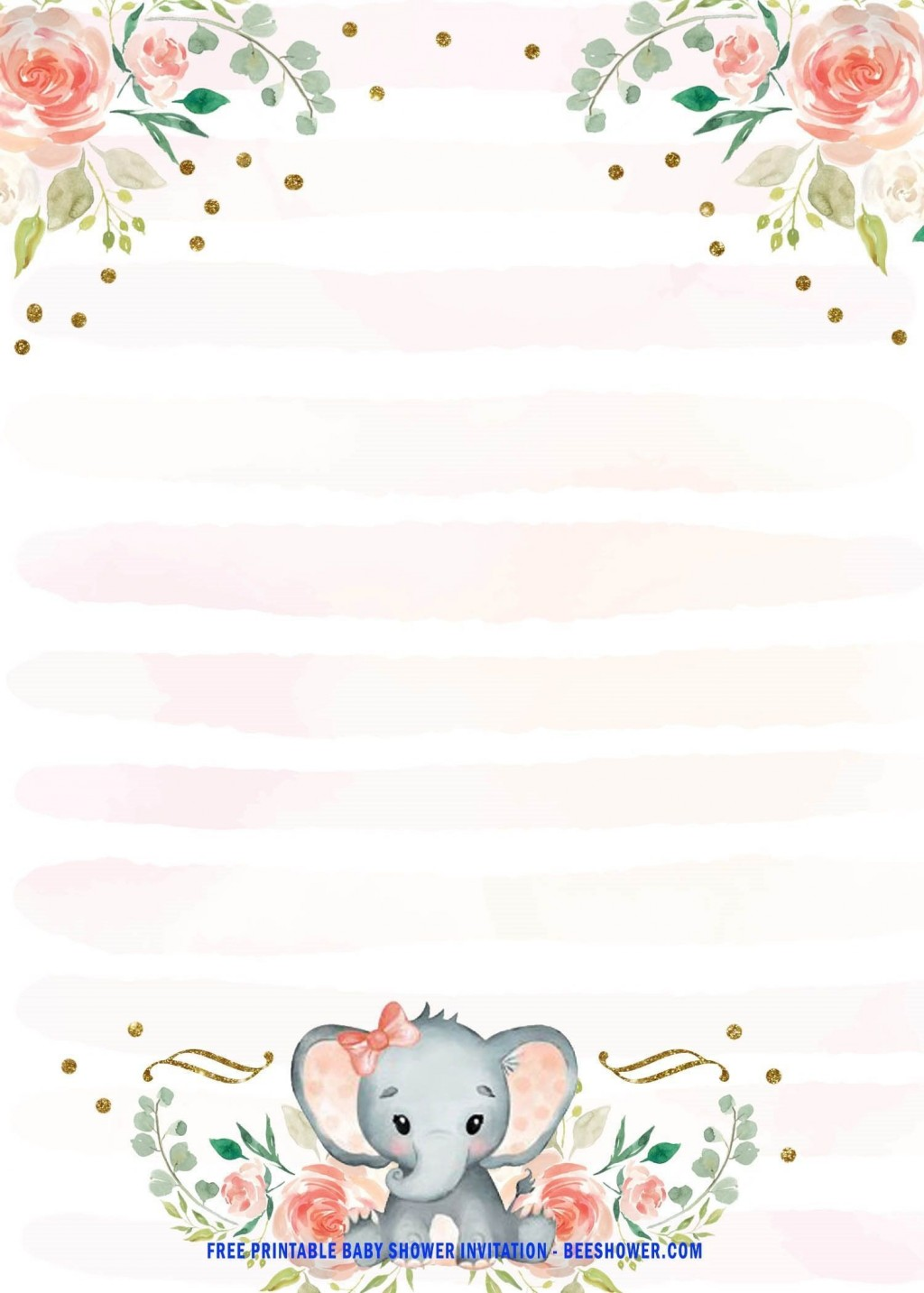 002 Staggering Free Printable Elephant Baby Shower Invitation Template High Definition  Templates EditableLarge