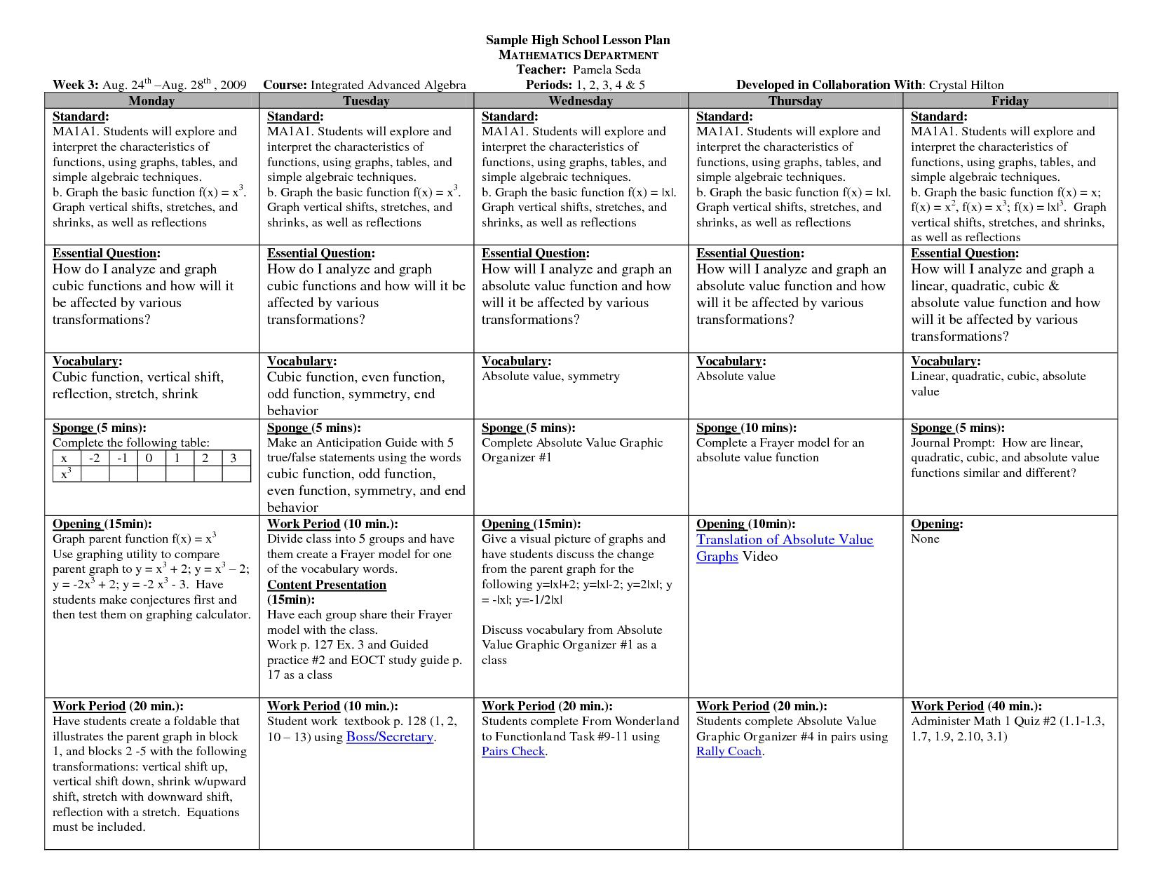 002 Staggering Lesson Plan Template High School Sample  Secondary English ScienceFull