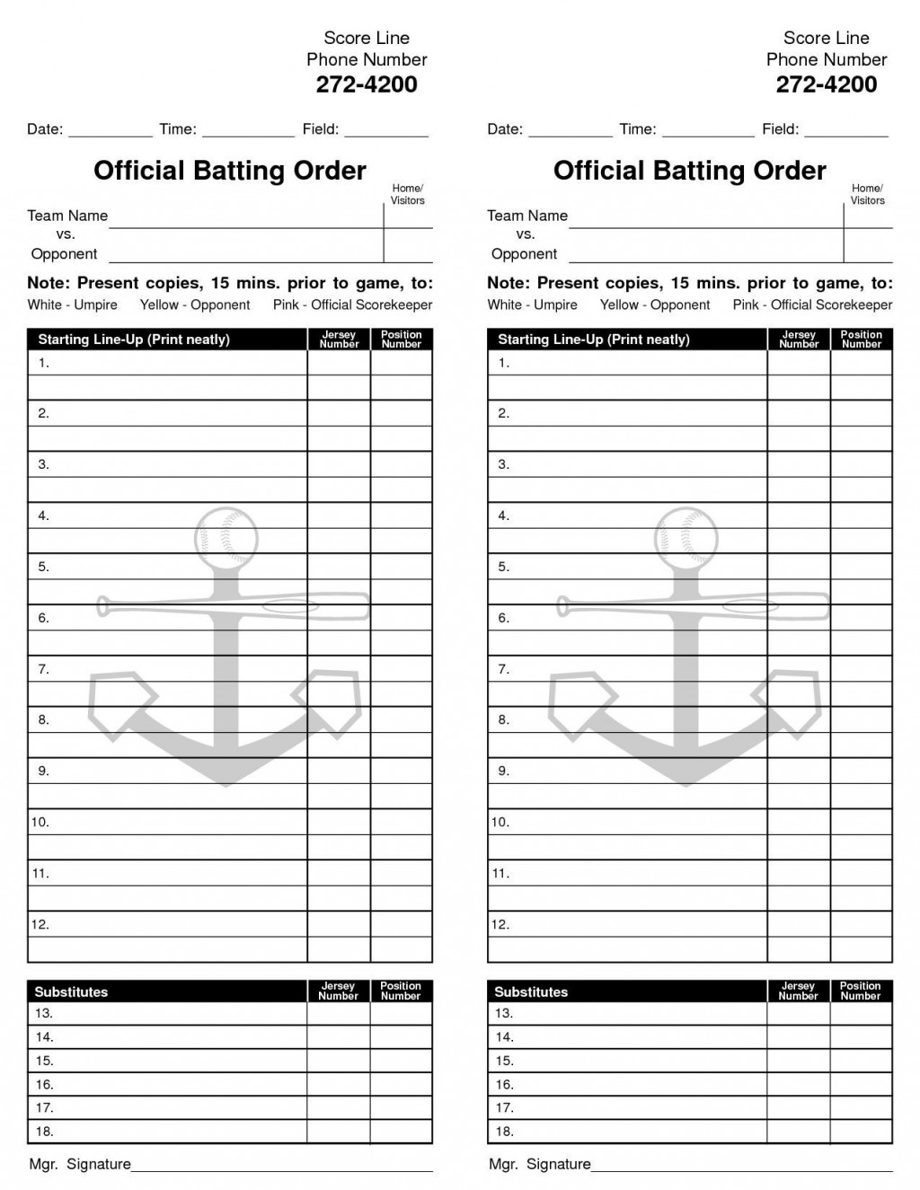 002 Staggering Little League Lineup Card Template High Definition  BaseballLarge
