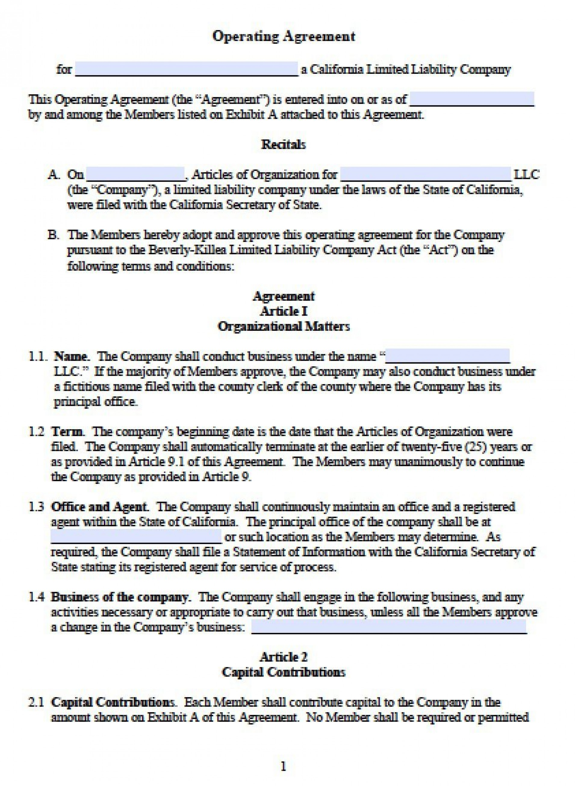 002 Staggering Operating Agreement Template For Llc Picture  Form Florida Texa1920