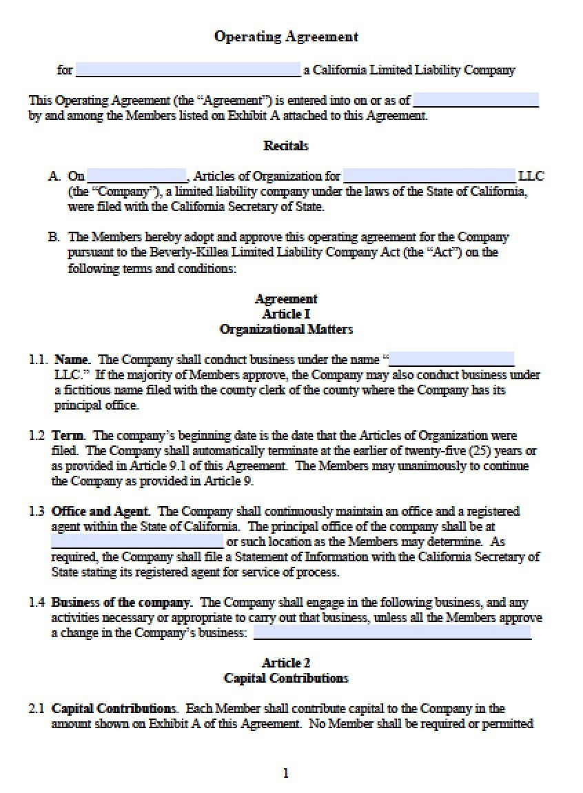 002 Staggering Operating Agreement Template For Llc Picture  Form Florida TexaFull