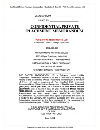 002 Staggering Private Placement Memorandum Outline High Def  Template Offering Sample Film320