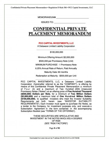 002 Staggering Private Placement Memorandum Outline High Def  Template Offering Sample Film360