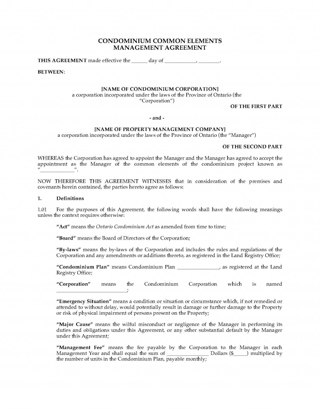 002 Staggering Property Management Agreement Template Ontario Idea  ContractLarge