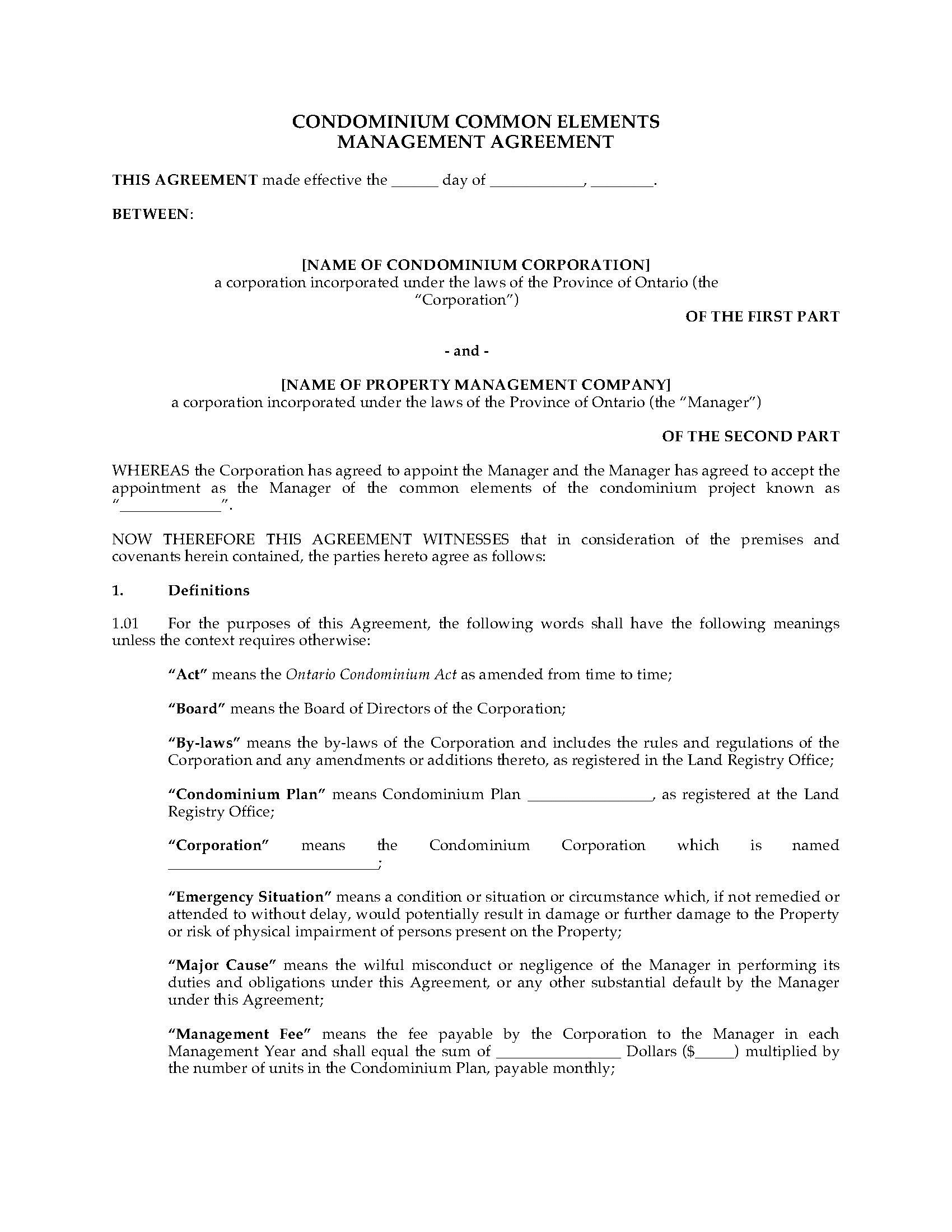 002 Staggering Property Management Agreement Template Ontario Idea  ContractFull