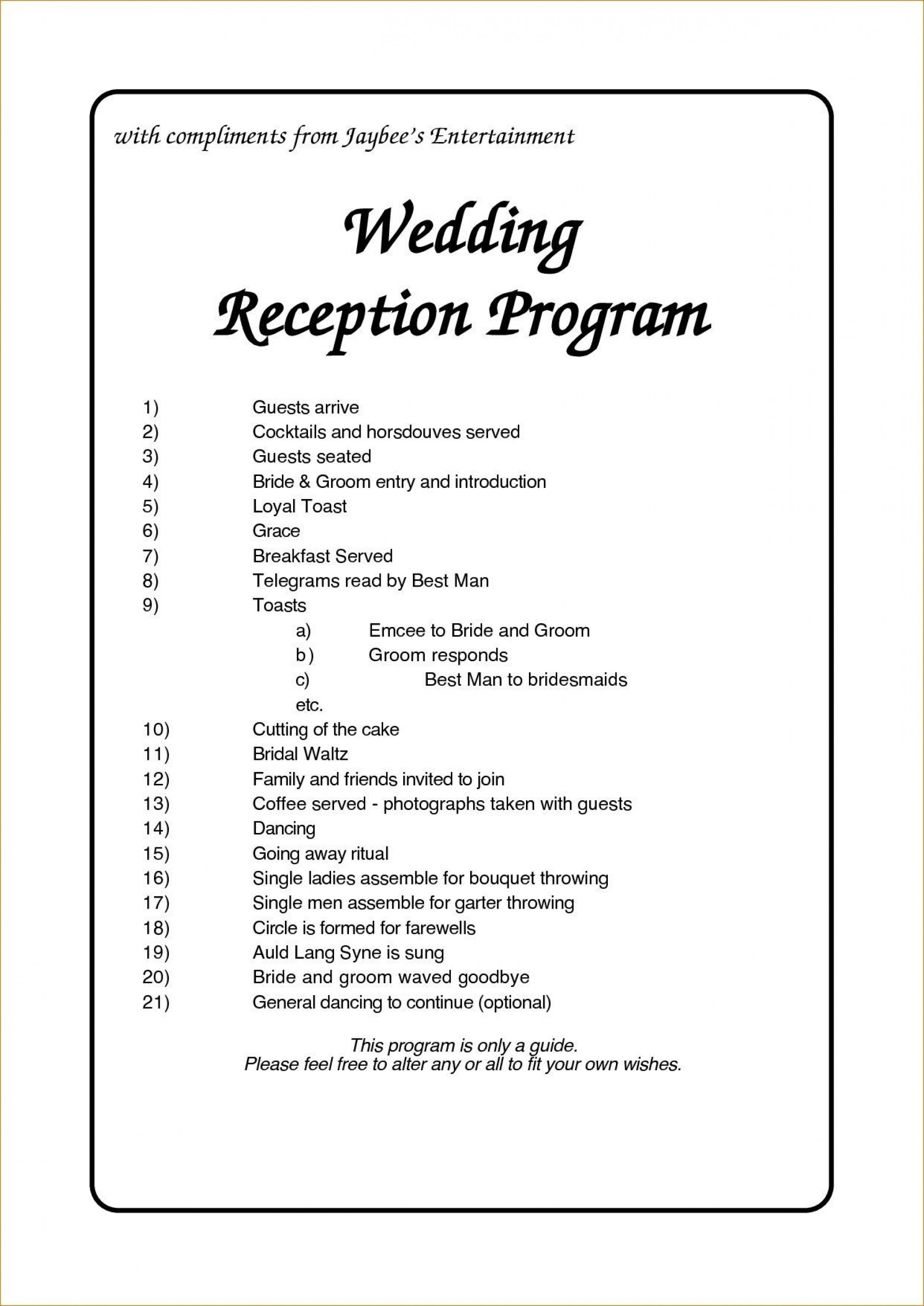 002 Staggering Wedding Reception Programme Template Picture  Program Microsoft Word Free Downloadable Pdf1920