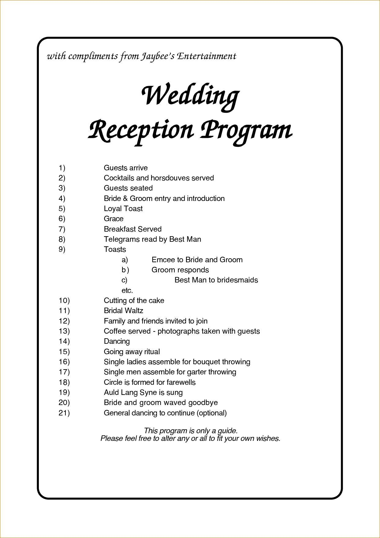002 Staggering Wedding Reception Programme Template Picture  Program Microsoft Word Free Downloadable PdfFull