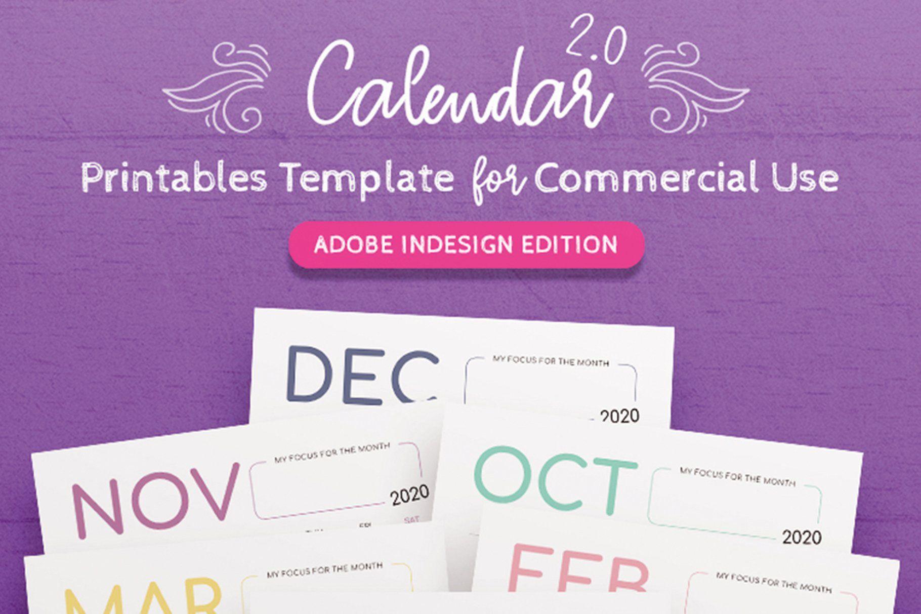 002 Stirring 2020 Calendar Template Indesign Concept  Adobe FreeFull