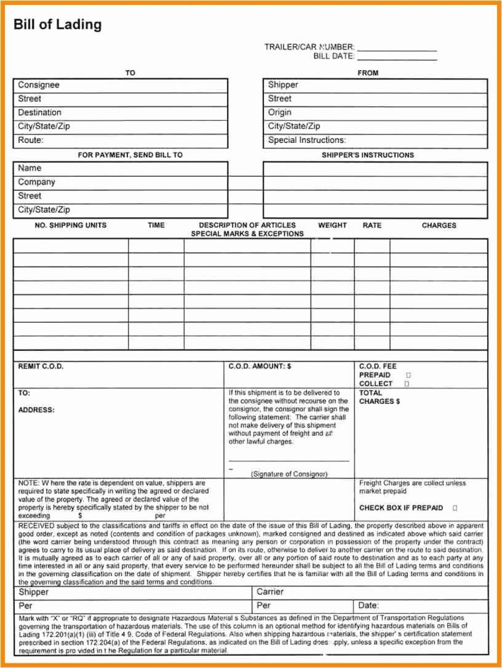 002 Stirring Bill Of Lading Template Excel Sample  Simple House Format InLarge