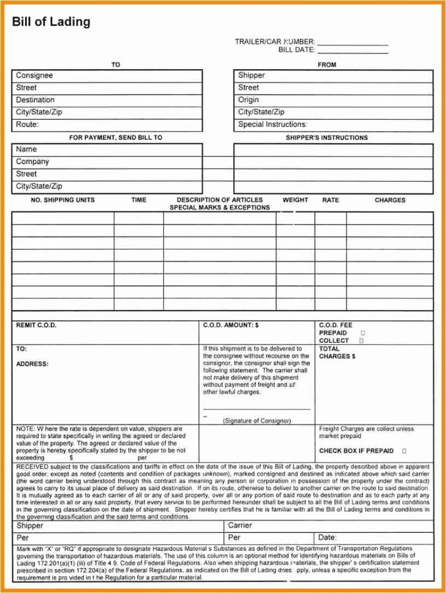 002 Stirring Bill Of Lading Template Excel Sample  Straight Short Form Ocean