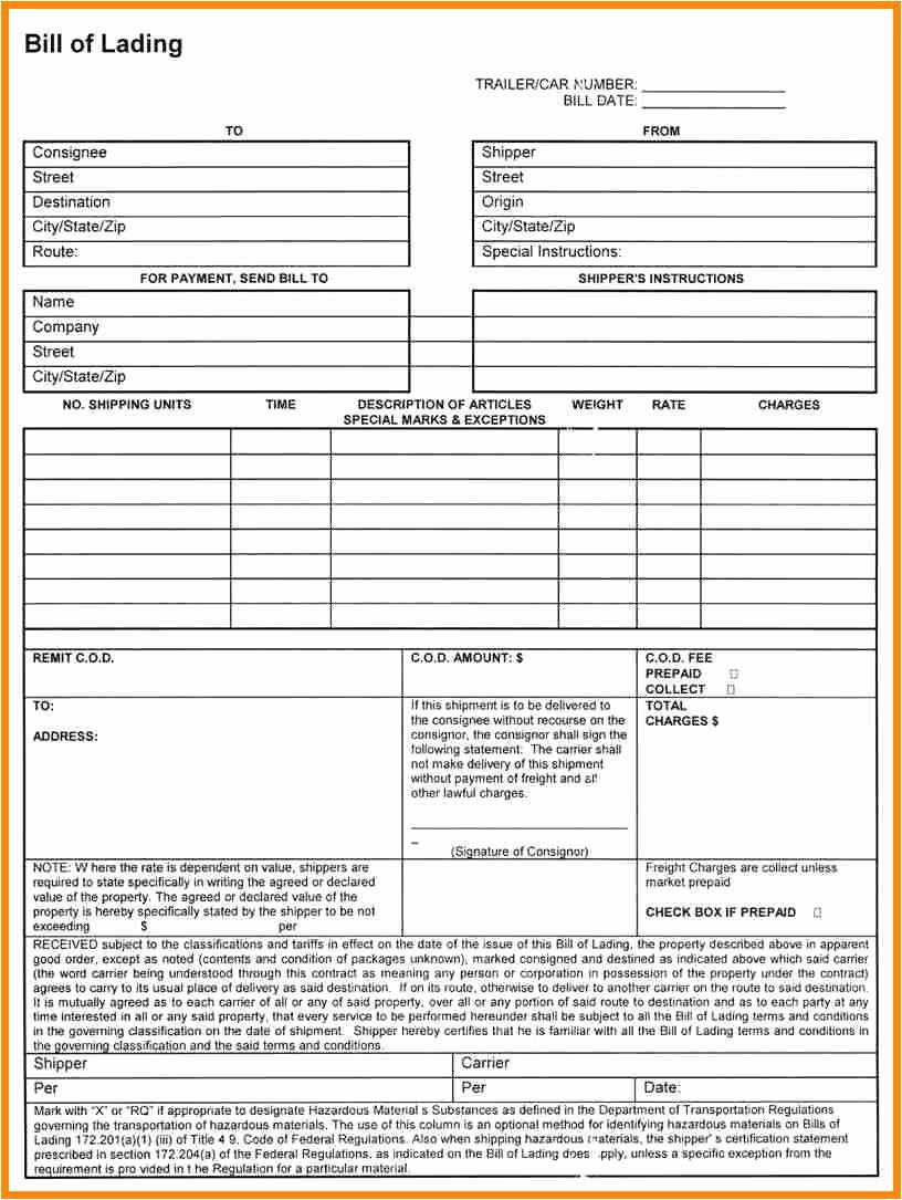 002 Stirring Bill Of Lading Template Excel Sample  Simple House Format InFull