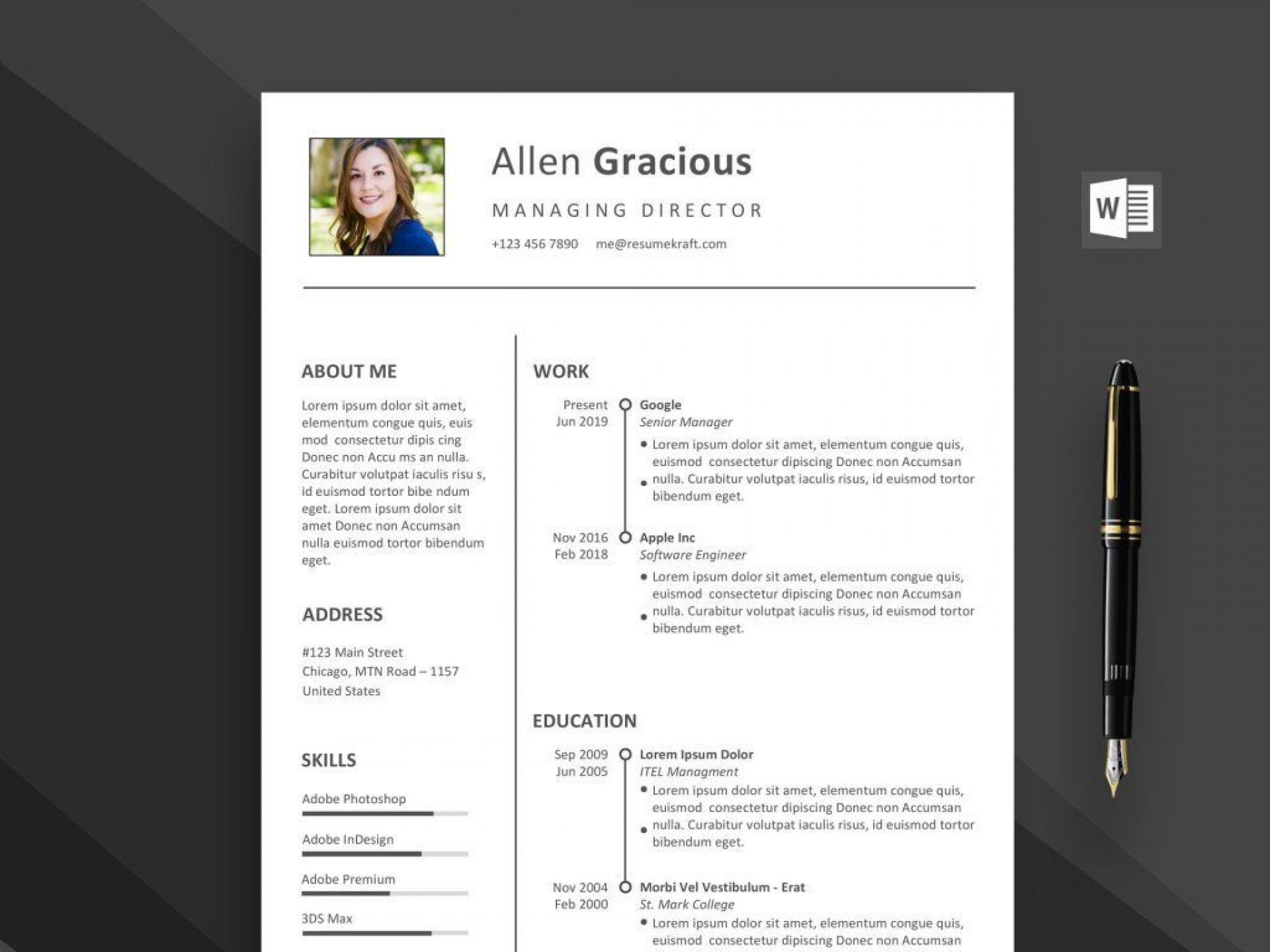 002 Stirring Download Resume Template Free Word Idea  Attractive Microsoft Simple For Creative1920