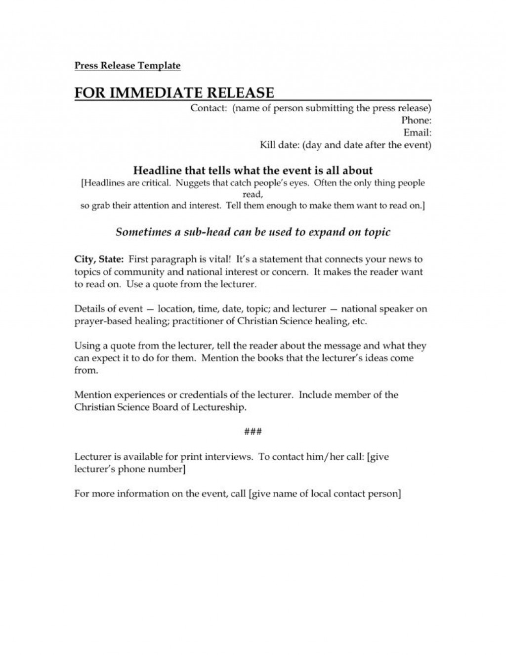 002 Stirring Event Pres Release Template High Def  Charity ExampleLarge