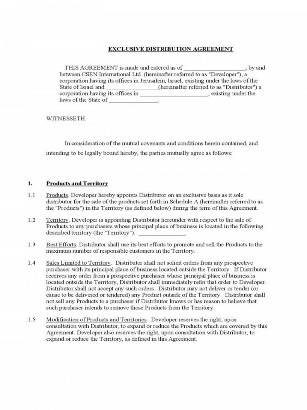 002 Stirring Exclusive Distribution Agreement Template Free Download Photo Large