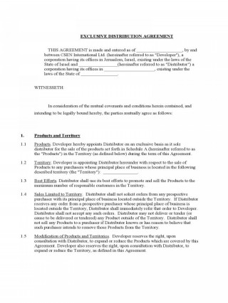 002 Stirring Exclusive Distribution Agreement Template Free Download Photo 320