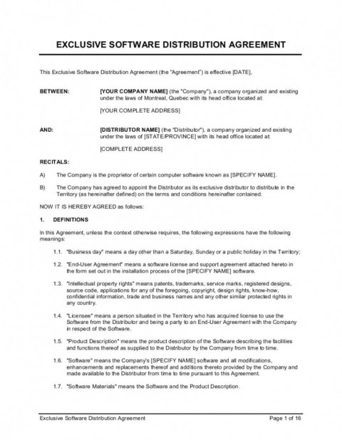002 Stirring Exclusive Distribution Agreement Template South Africa Design 480
