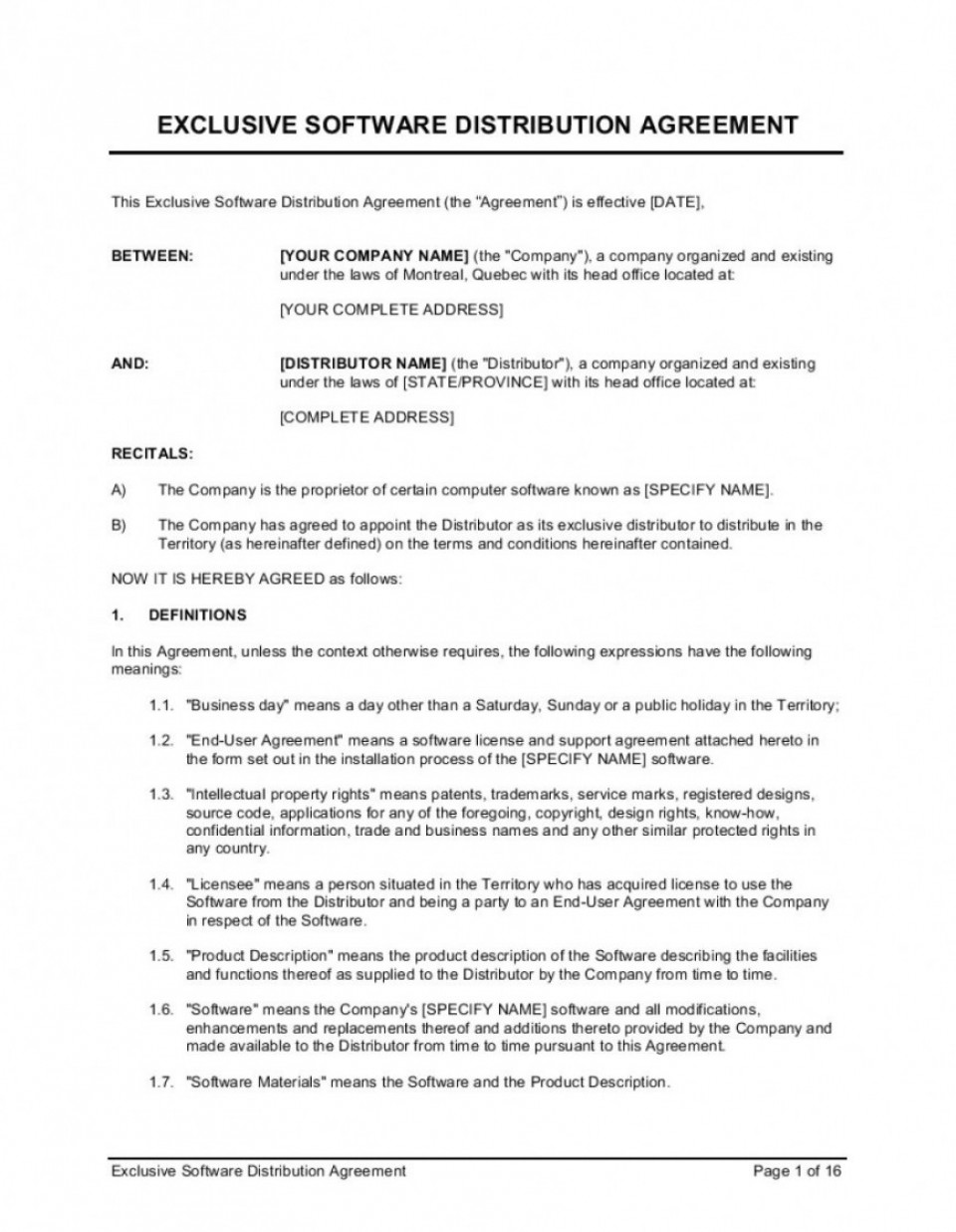 002 Stirring Exclusive Distribution Agreement Template South Africa Design 960