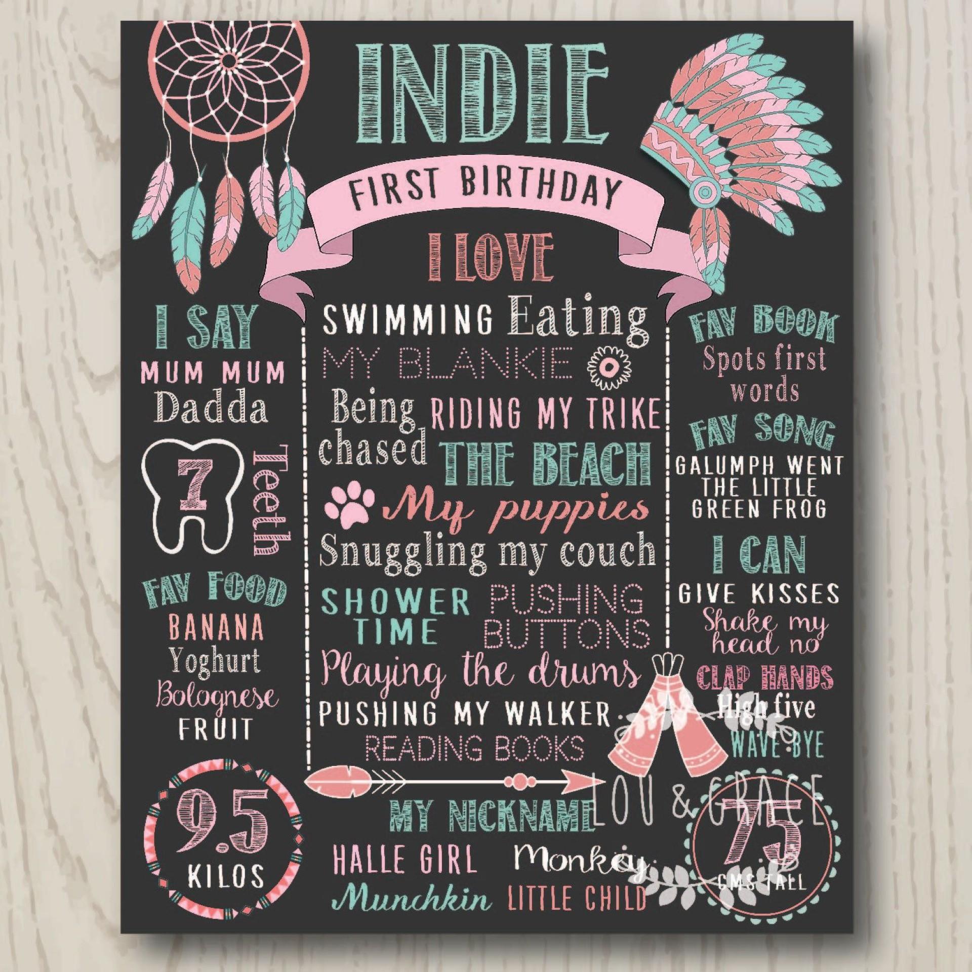 002 Stirring First Birthday Chalkboard Template Highest Clarity  Diy Printable Free1920