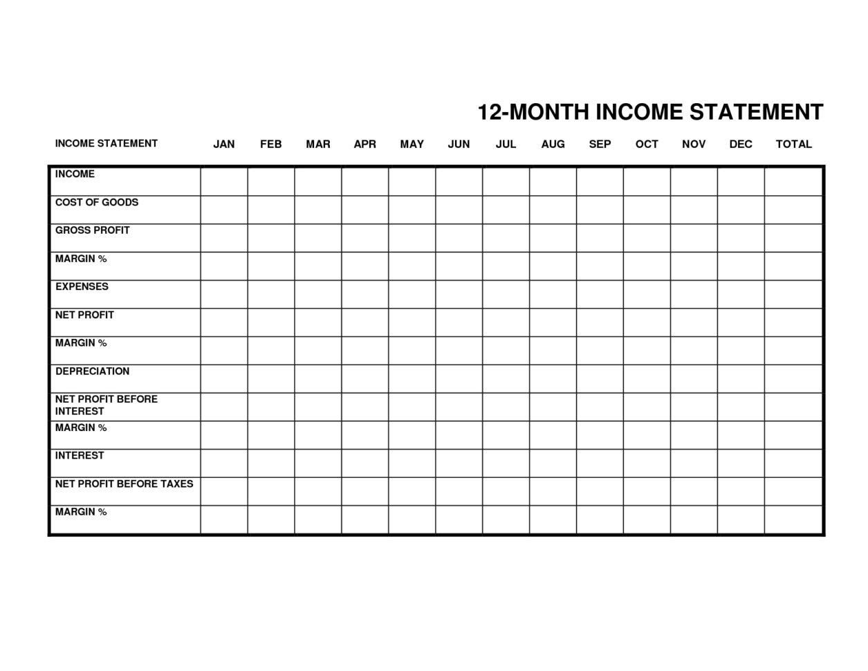 002 Stirring Monthly Income Statement Format Excel Image  Free DownloadFull