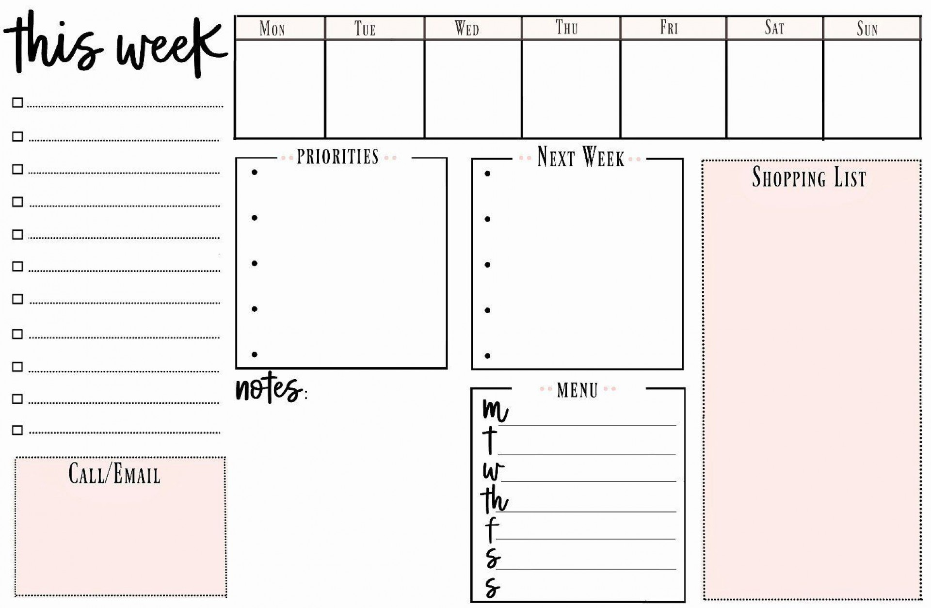 002 Stirring Weekly Todo List Template Picture  To Do Pinterest Task Excel Daily Pdf1920