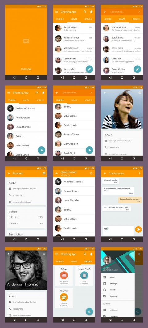 002 Striking Android App Design Template Example  Free Sketch Ui480