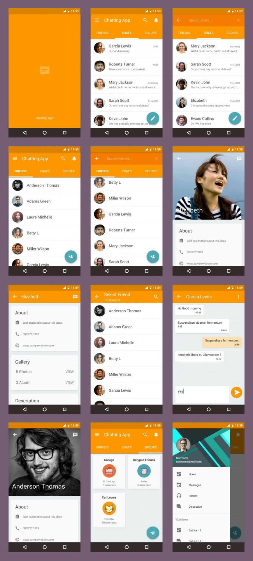002 Striking Android App Design Template Example  Free Sketch Ui868
