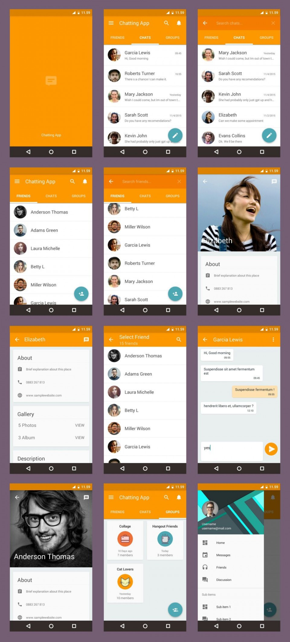 002 Striking Android App Design Template Example  Free Sketch Ui960