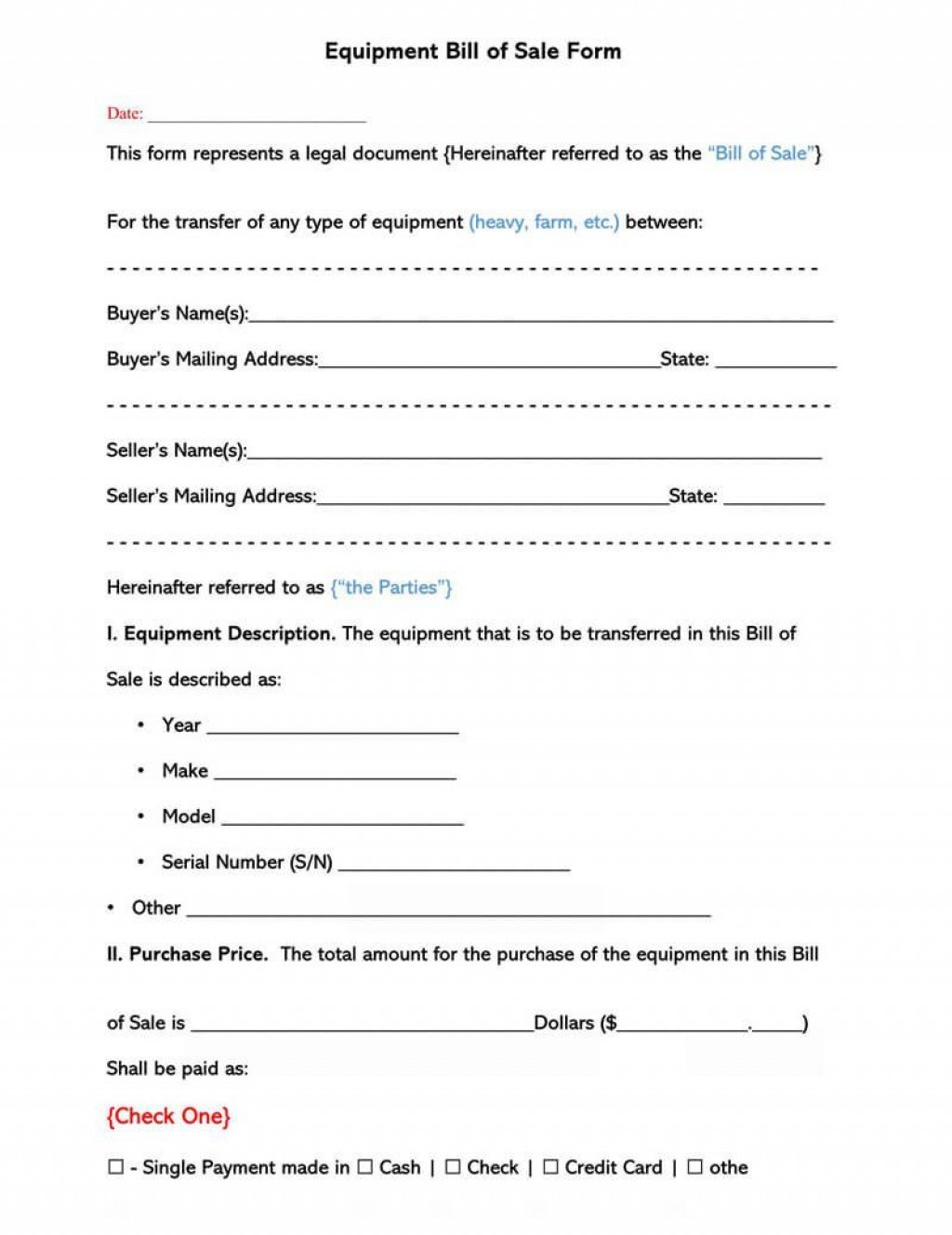 002 Striking Equipment Bill Of Sale Form Design  Forms Word Document Alberta Simple TemplateLarge
