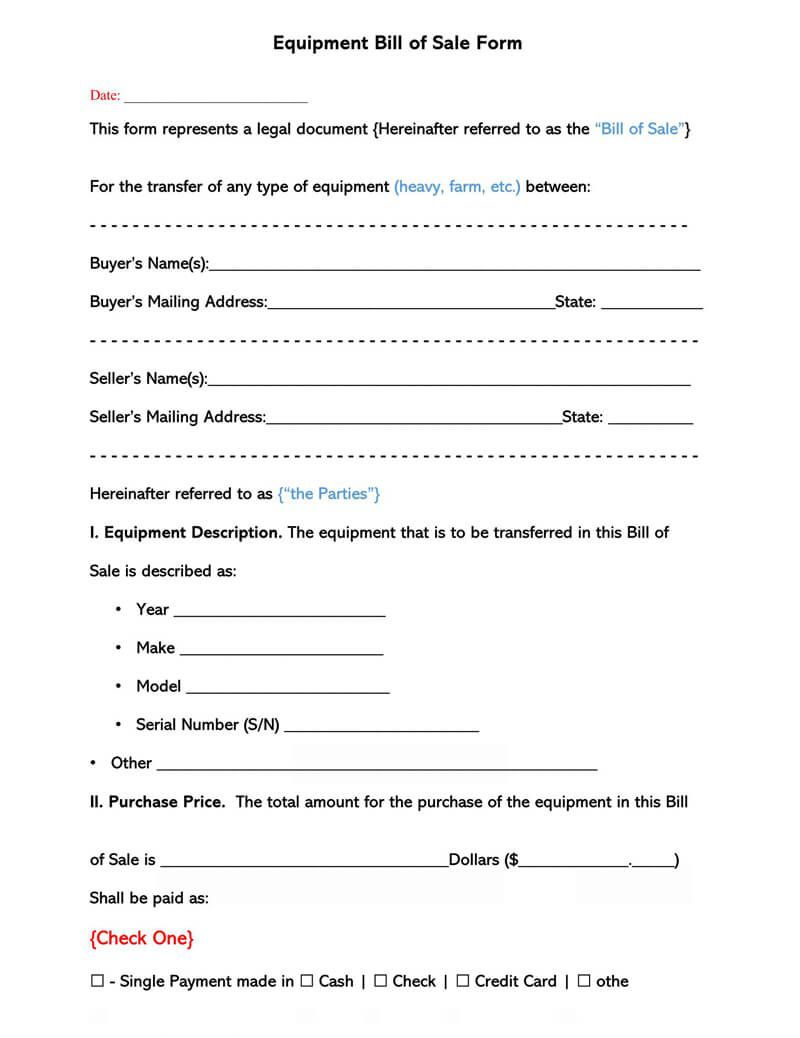 002 Striking Equipment Bill Of Sale Form Design  Forms Word Document Alberta Simple TemplateFull