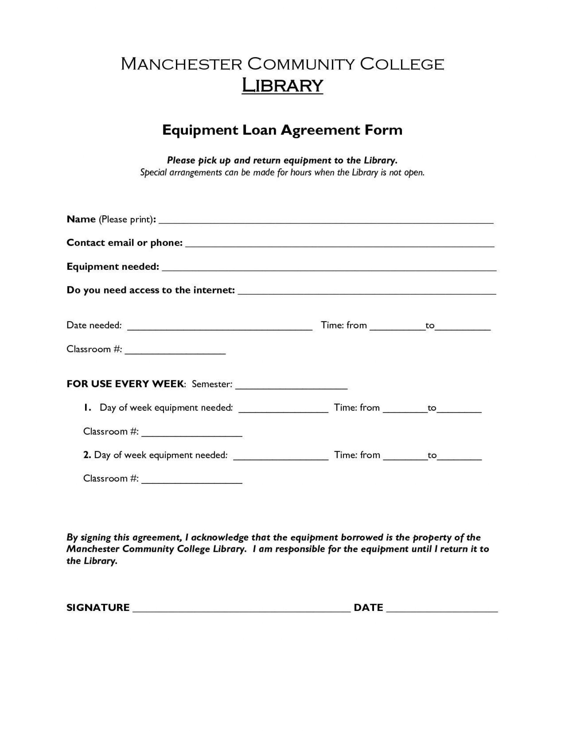 002 Striking Equipment Loan Agreement Template Highest Quality  Simple Uk Borrowing Free1920