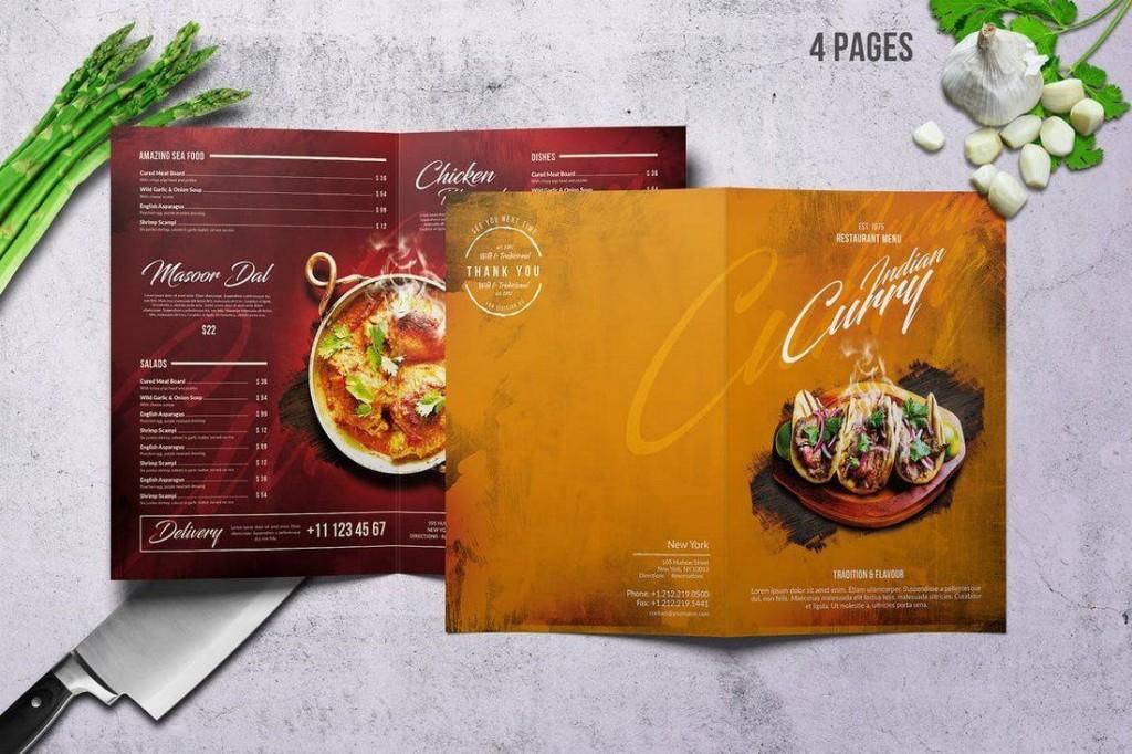 002 Striking Food Menu Card Template Free Download Sample Large