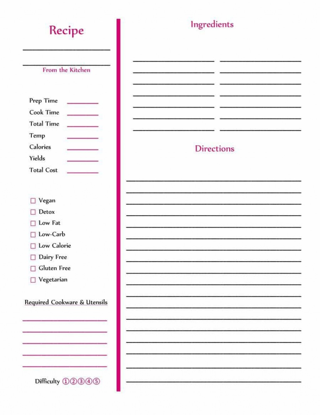 002 Striking Full Page Recipe Template High Definition  Card For Word Free EditableLarge