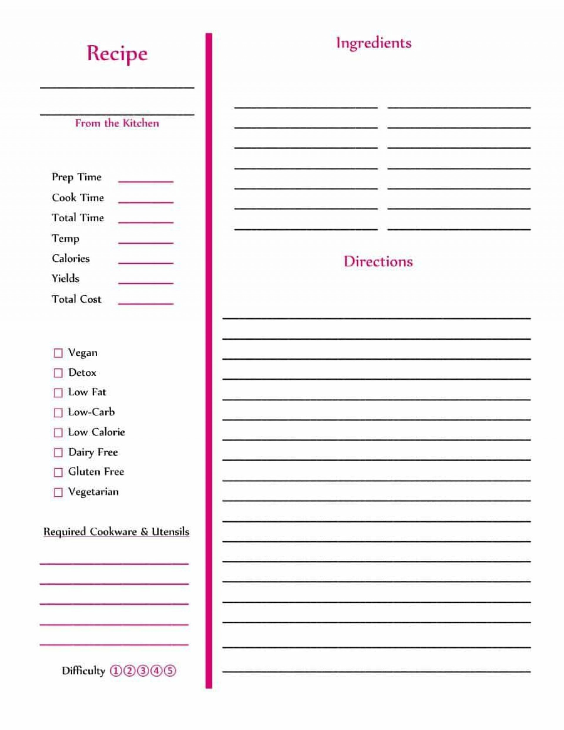 002 Striking Full Page Recipe Template High Definition  Card For Word Free Editable1920
